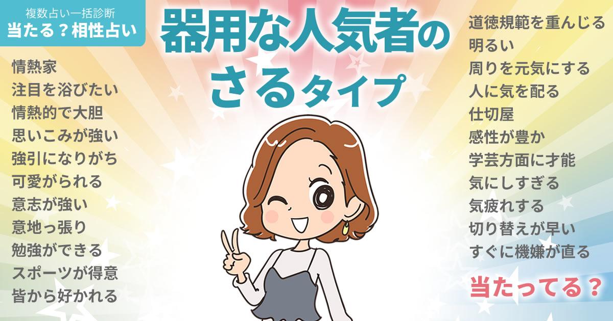 内田有紀さんの占いまとめ 器用な人気者のさるタイプ