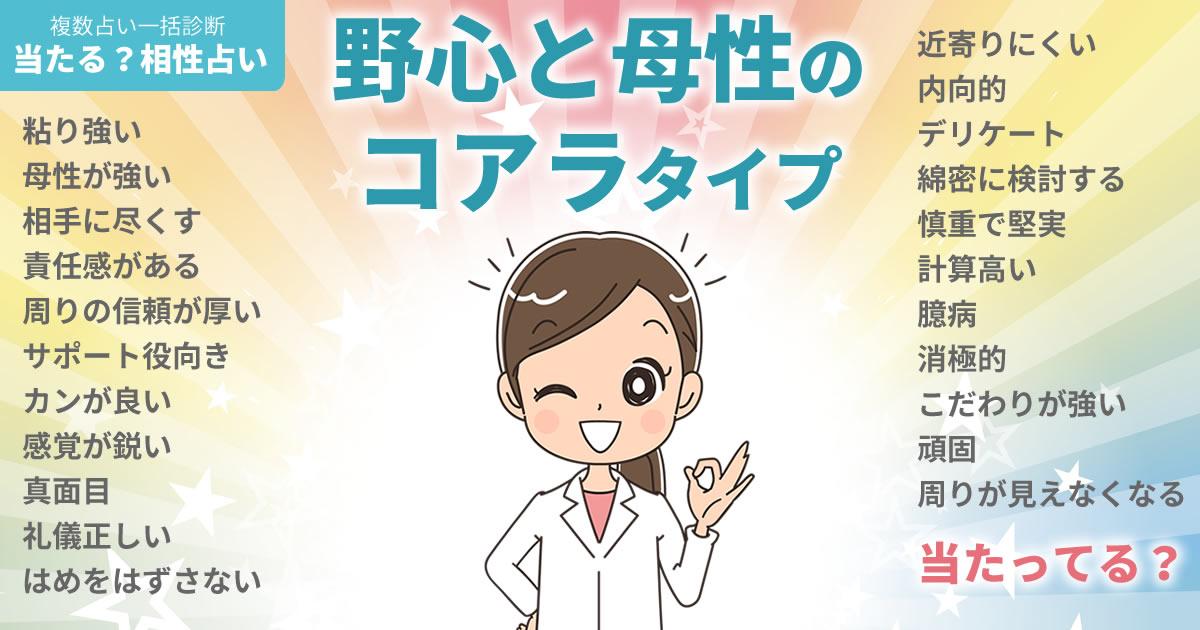 桑子真帆さんの占いまとめ 野心と母性のコアラタイプ