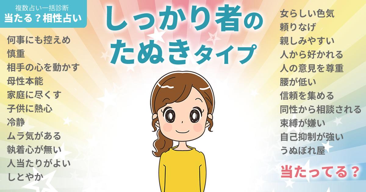 戸田恵梨香さんの占いまとめ しっかり者のたぬきタイプ