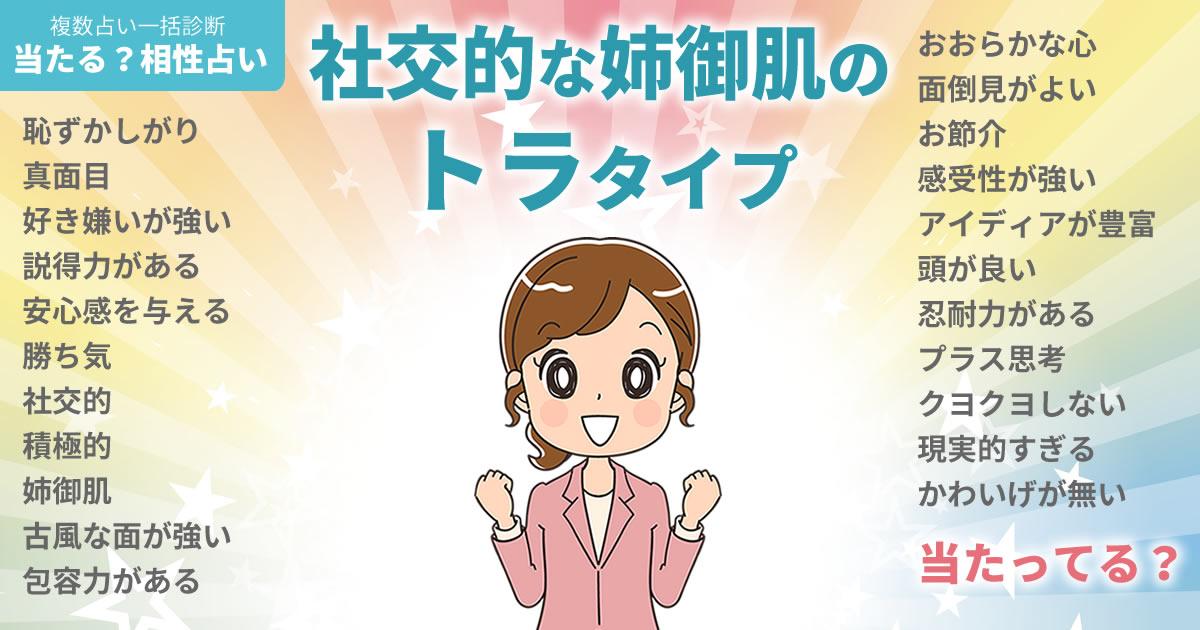 樫野有香さんの占いまとめ 社交的な姉御肌のトラタイプ