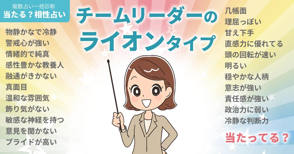 島崎遥香さんの占いまとめ チームリーダーのライオンタイプ