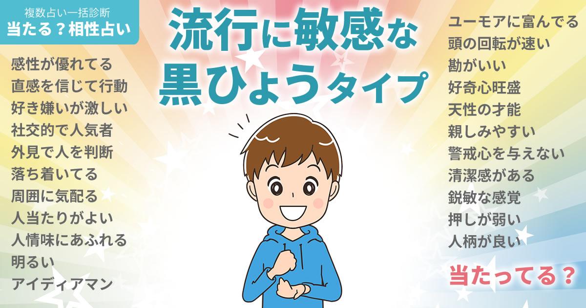 堂本剛さんの占いまとめ 流行に敏感な黒ひょうタイプ