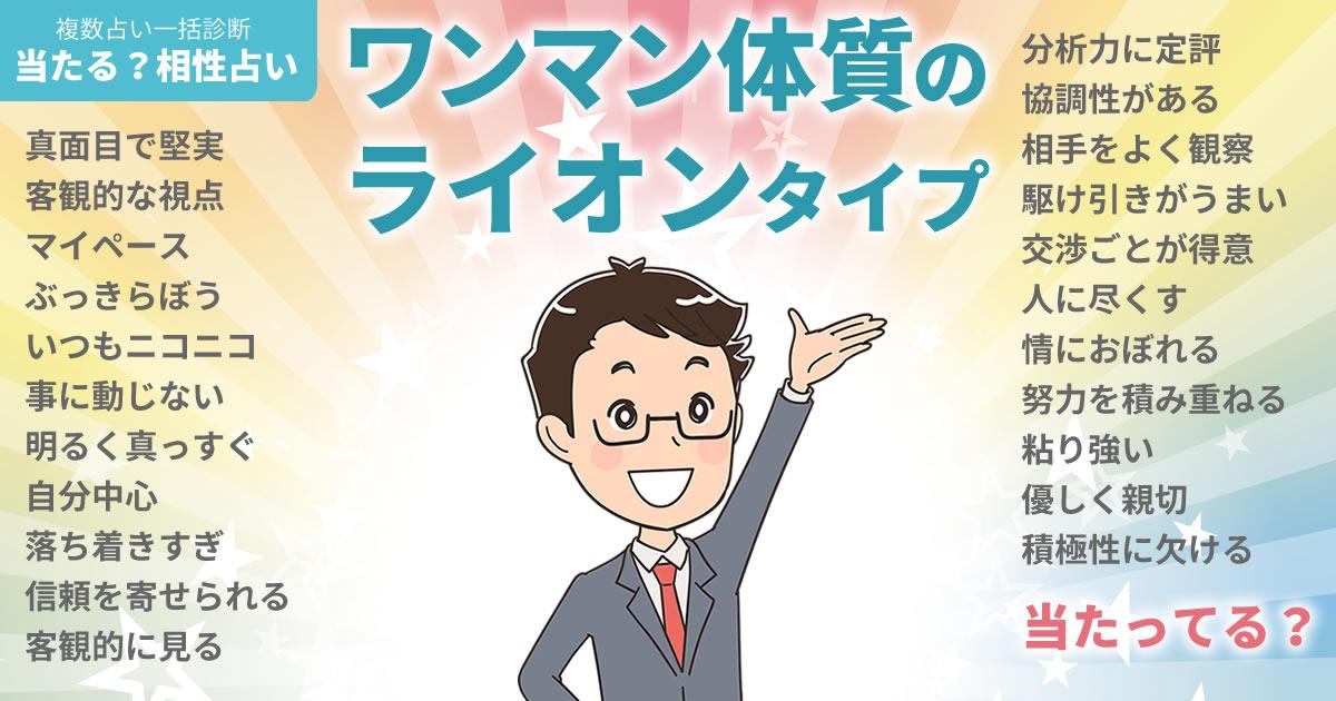 濱田岳さんの占いまとめ ワンマン体質のライオンタイプ